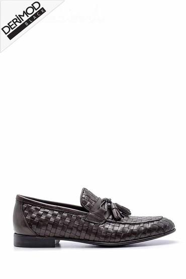 Kahverengi Erkek Deri Örgü Desen Loafer 5638162804