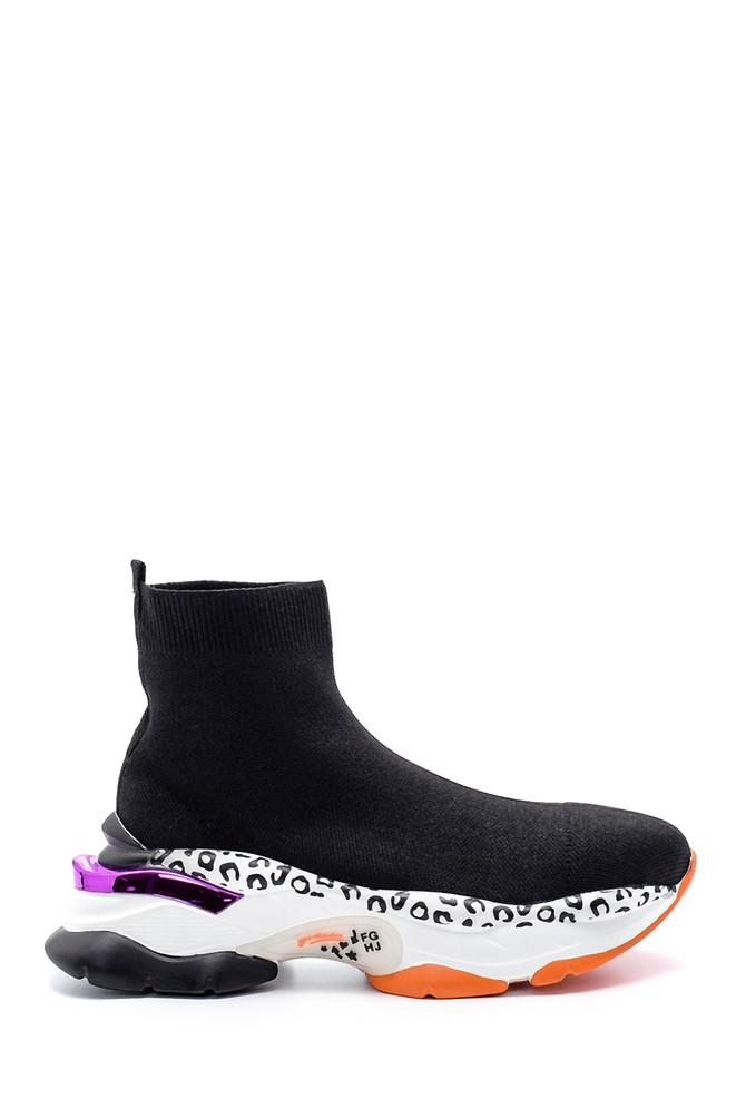 Siyah Kadın Kalın Renkli Tabanlı Çorap Bot 5638183733