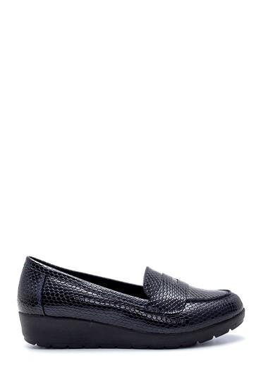 Lacivert Kadın Yılan Derisi Desenli Ayakkabı 5638199365