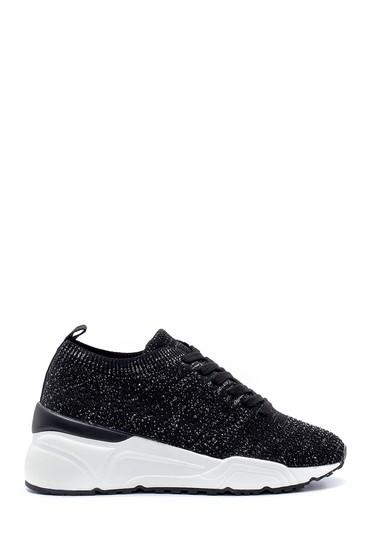 Siyah Kadın Bağcıklı Çorap Sneaker 5638206334