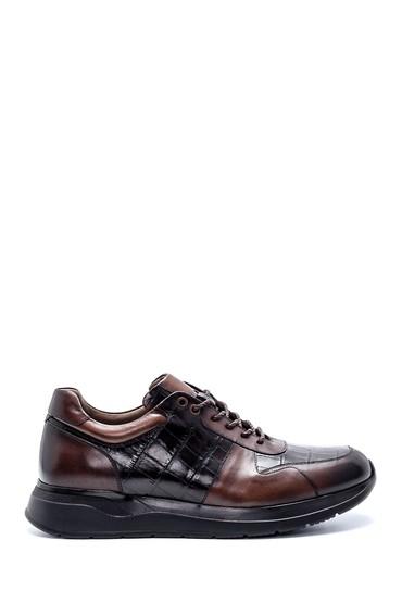 Kahverengi Erkek Deri Kroko Desenli Sneaker 5638215033