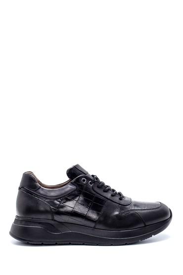 Siyah Erkek Deri Kroko Desenli Sneaker 5638215035