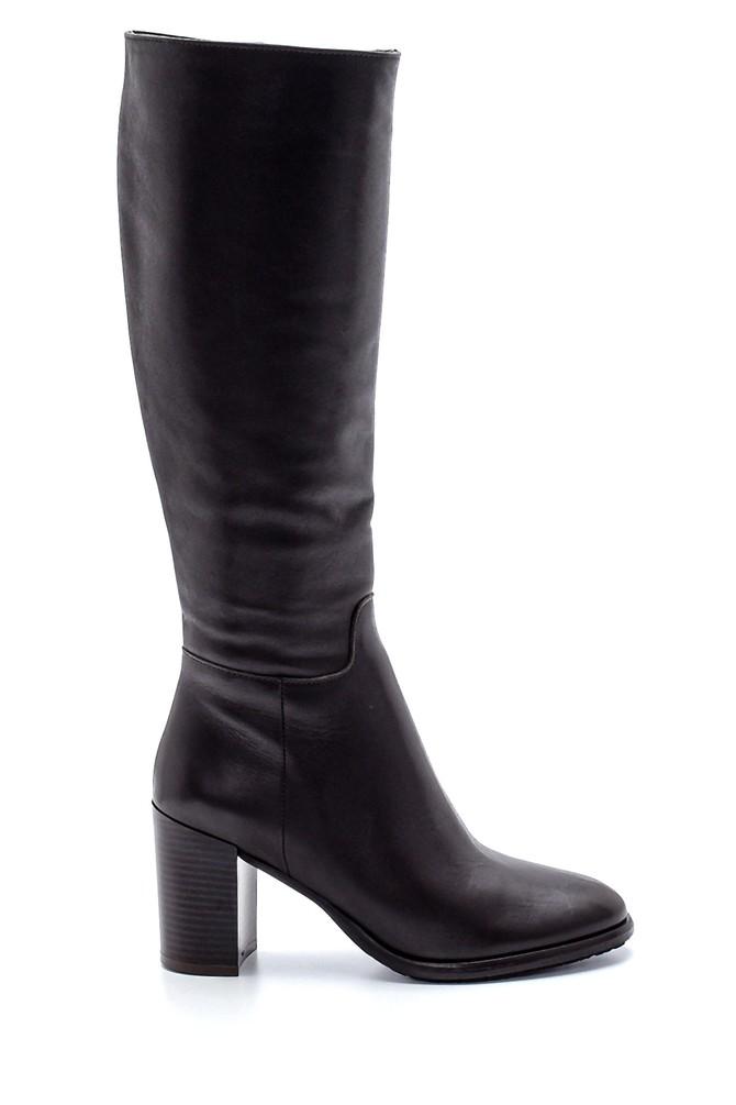 Kahverengi Kadın Deri Topuklu Çizme 5638212890