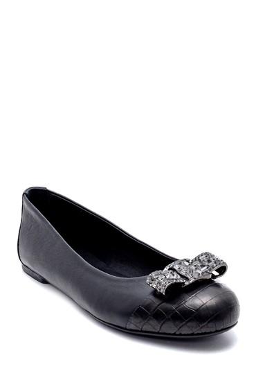 Siyah Kadın Deri Taş Detaylı Babet 5638225291