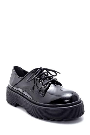 Siyah Kadın Deri Rugan Kalın Tabanlı Ayakkabı 5638226345