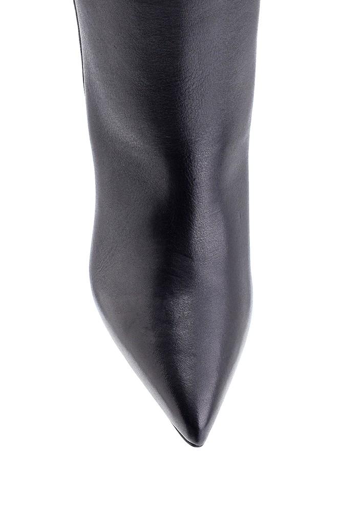 5638229863 Kadın Deri Kroko Desen Detaylı Topuklu Bot