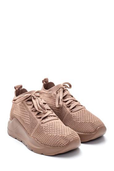 Kahverengi Kadın Bağcıklı Çorap Sneaker 5638232274