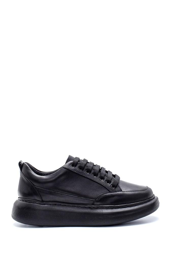 Siyah Kadın Deri Sneaker 5638234489