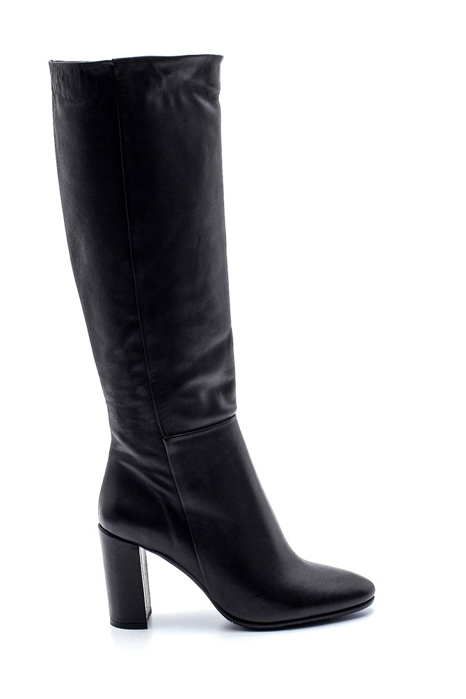 Siyah Kadın Deri Topuklu Çizme 5638213045