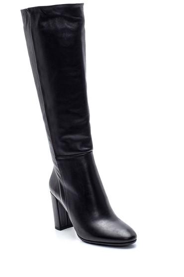 Siyah Kadın Deri Topuklu Çizme 5638213039