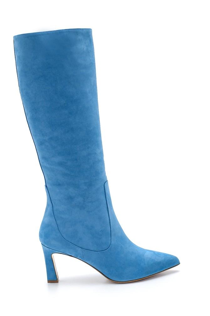 Mavi Kadın Nubuk Deri Topuklu Çizme 5638213856