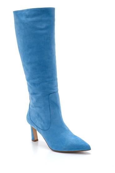 Mavi Kadın Nubuk Deri Topuklu Çizme 5638213860