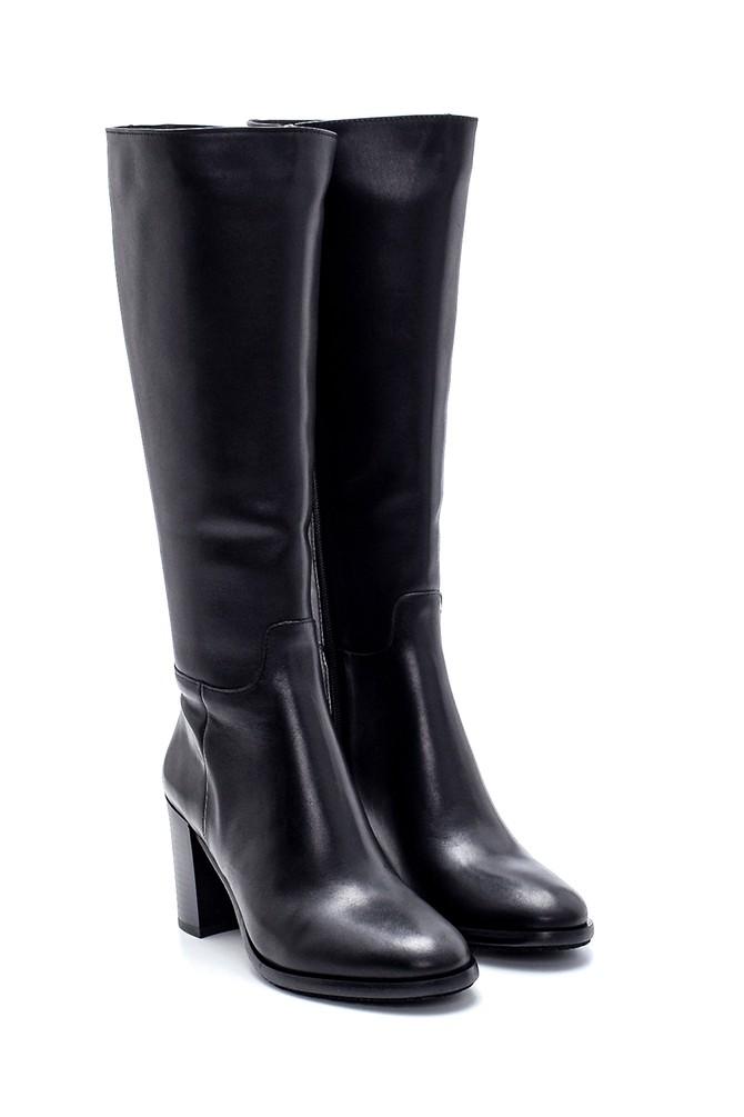 5638212888 Kadın Deri Topuklu Çizme