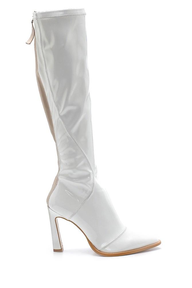 Beyaz Kadın Deri Rugan Topuklu Çizme 5638213875