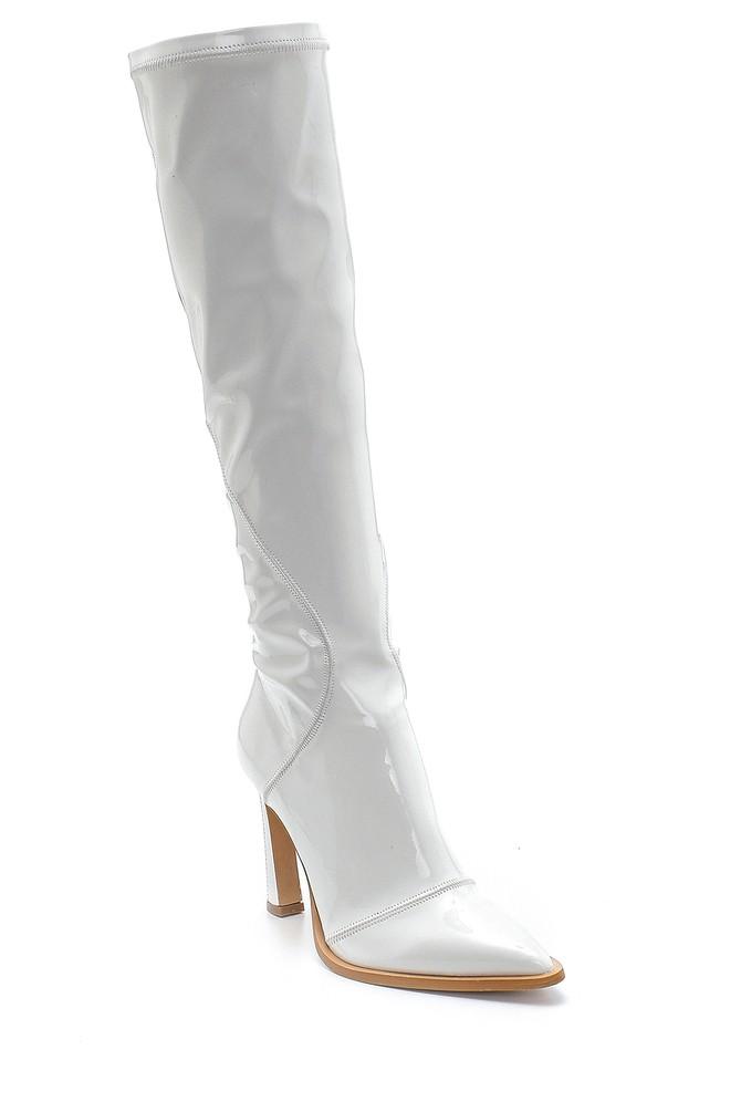 5638213867 Kadın Deri Rugan Topuklu Çizme