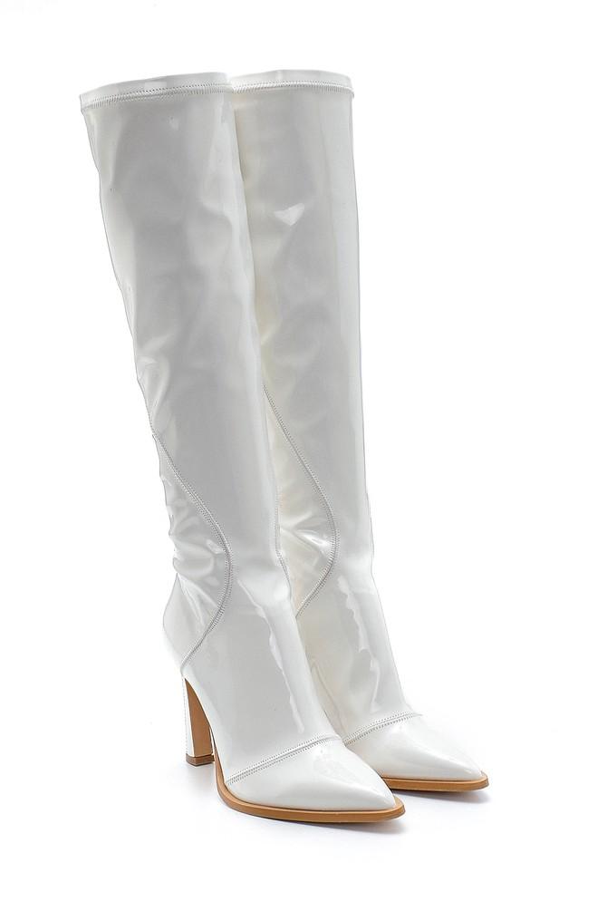 5638213875 Kadın Deri Rugan Topuklu Çizme