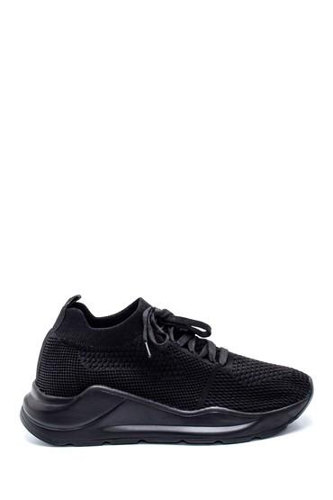 Siyah Kadın Bağcıklı Çorap Sneaker 5638232272