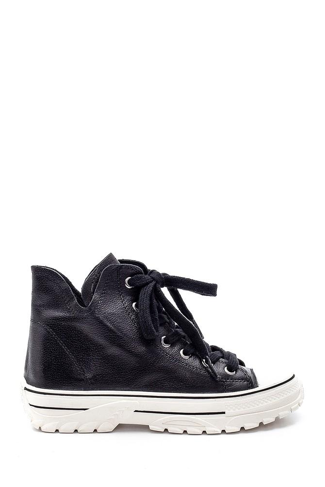 Siyah Kadın Deri Spor Ayakkabı 5638183677