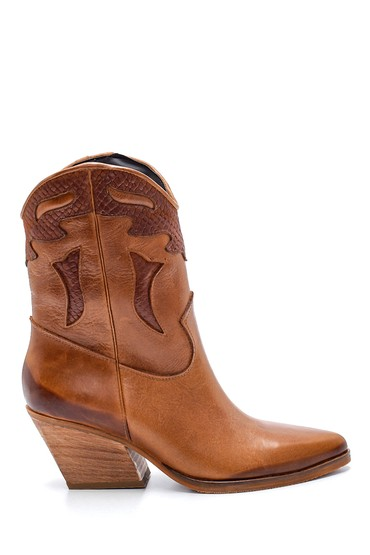 Kahverengi Kadın Deri Topuklu Kovboy Bot 5638205999