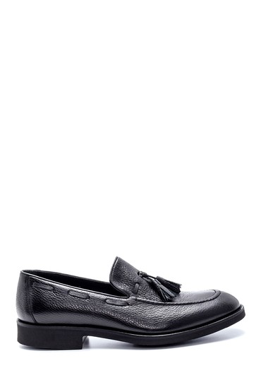 Siyah Erkek Deri Püskül Detaylı Ayakkabı 5638214886