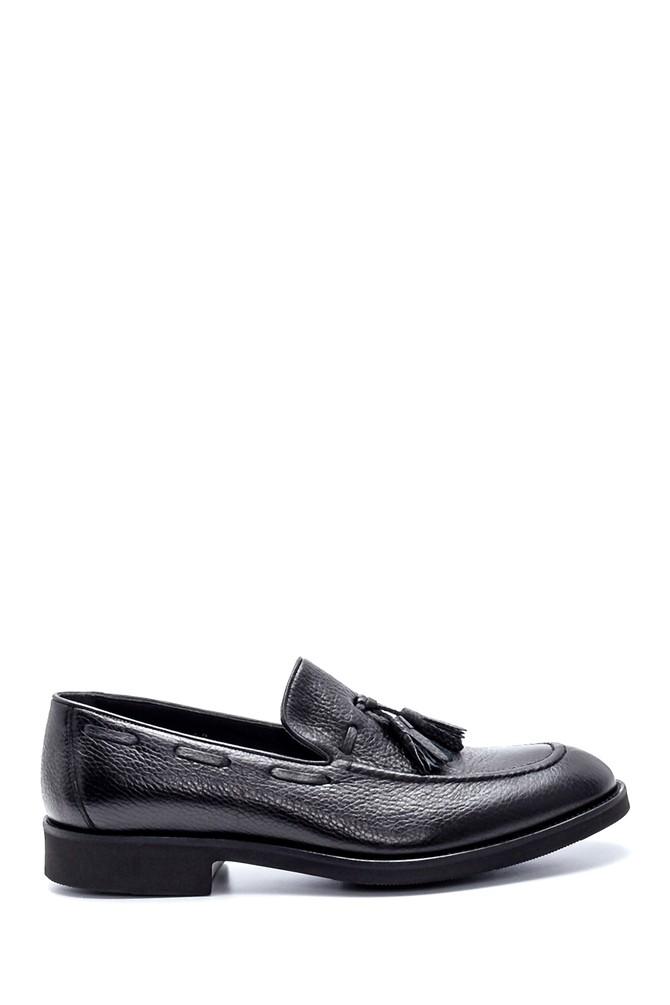 Siyah Erkek Deri Püskül Detaylı Ayakkabı 5638214890