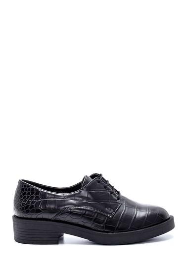Siyah Kadın Kroko Desenli Maskülen Ayakkabı 5638208949
