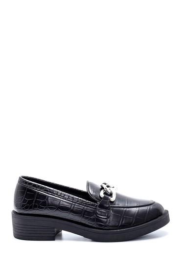 Siyah Kadın Kroko Desenli Loafer 5638209169