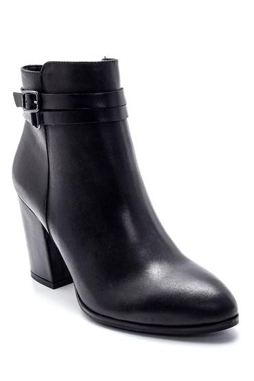 Siyah Kadın Deri Topuklu Bot 5638213536