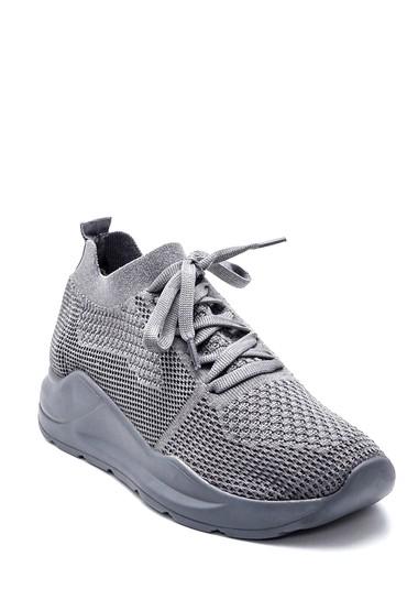 Gri Kadın Bağcıklı Çorap Sneaker 5638232270