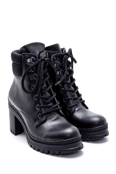 Siyah Kadın Bağcıklı Topuklu Bot 5638237147