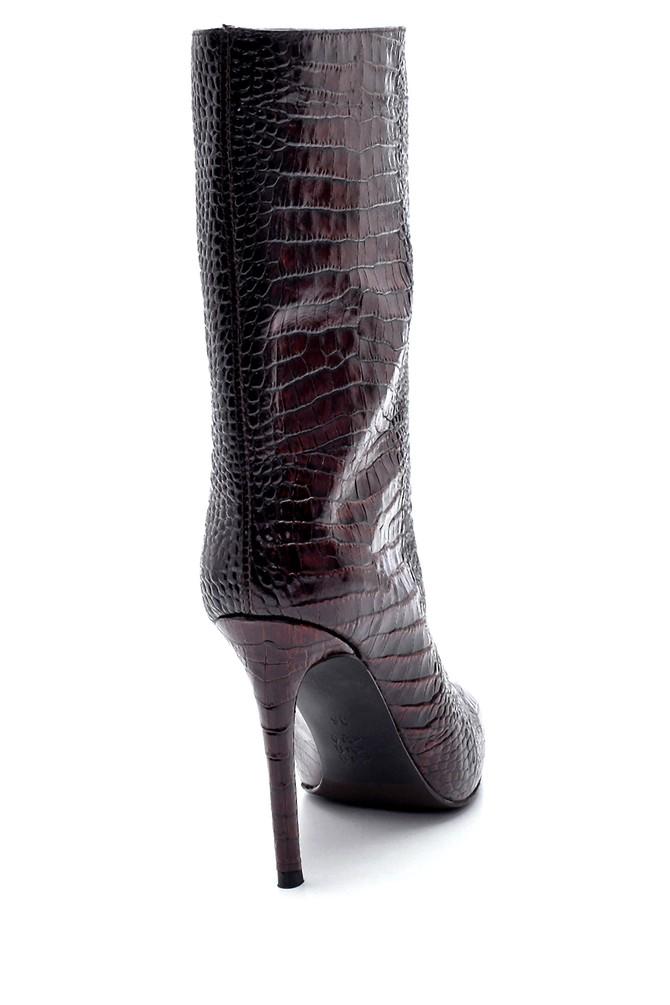 5638206148 Kadın Deri Kroko Desenli Topuklu Bot