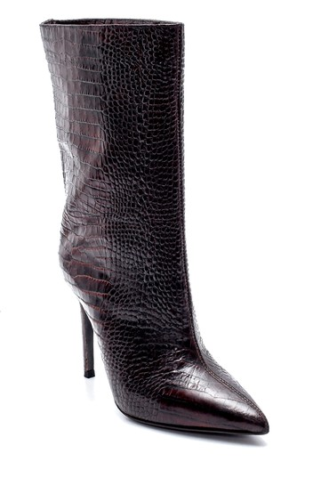 Kahverengi Kadın Deri Kroko Desenli Topuklu Bot 5638206148