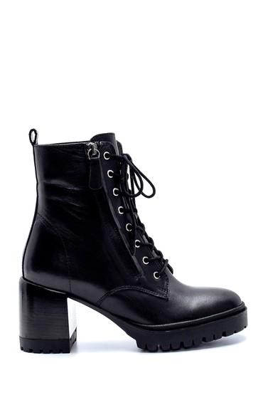 Siyah Kadın Deri Fermuar Detaylı Topuklu Bot 5638206226