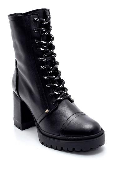 Siyah Kadın Deri Topuklu Bot 5638213787