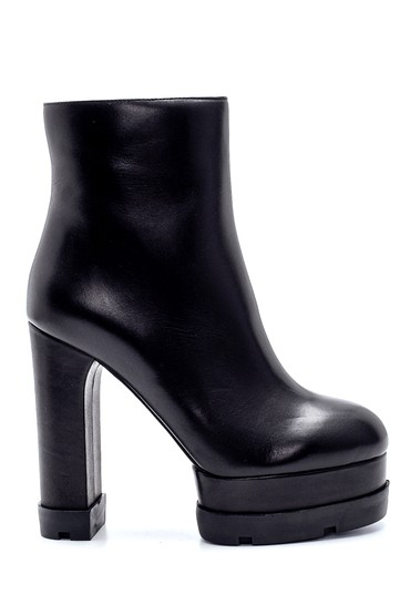 Siyah Kadın Deri Platform Topuklu Bot 5638206216
