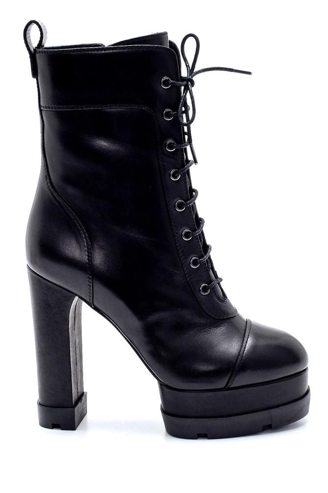 Siyah Kadın Deri Platform Topuklu Bot 5638206244