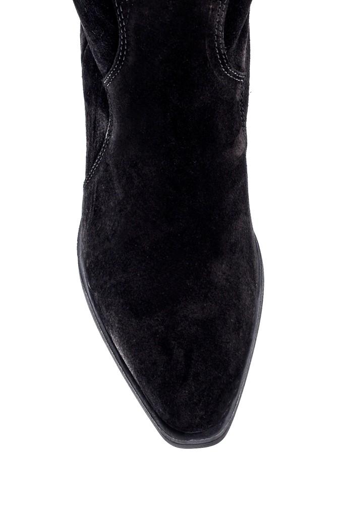 5638216720 Kadın Süet Nakış Detaylı Topuklu Çizme