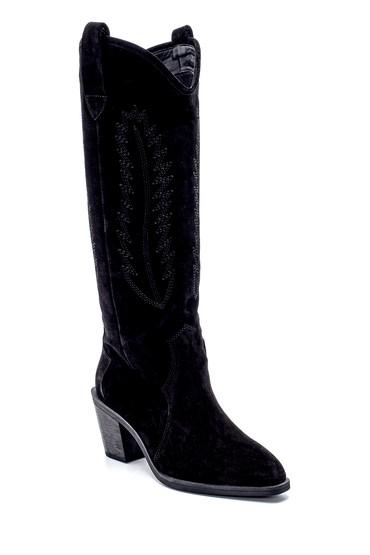 Siyah Kadın Süet Nakış Detaylı Topuklu Çizme 5638216720