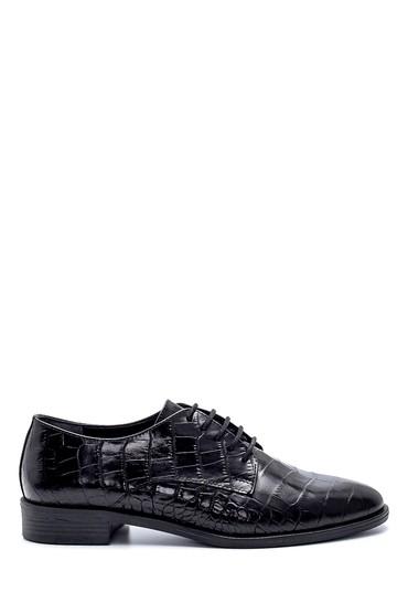 Siyah Kadın Deri Kroko Desenli Ayakkabı 5638234792