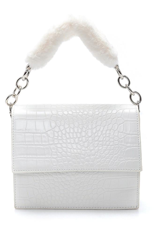 Beyaz Kadın Kroko Desenli Kol Çantası 5638205082