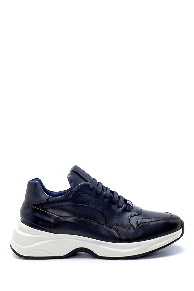 Lacivert Erkek Deri Sneaker 5638217837