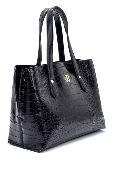 Siyah Kadın Kroko Desenli Omuz Çantası 5638232162