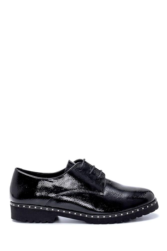 Siyah Kadın Rugan Maskülen Ayakkabı 5638199502