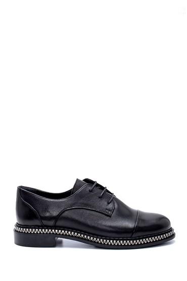Siyah Kadın Deri Maskülen Ayakkabı 5638202661