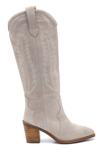 Bej Kadın Süet Nakış Detaylı Topuklu Çizme 5638216726