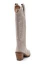 5638216726 Kadın Süet Nakış Detaylı Topuklu Çizme