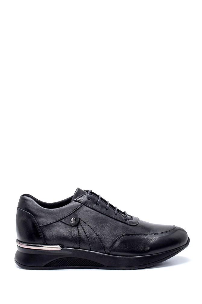 Siyah Kadın Deri Sneaker 5638232502