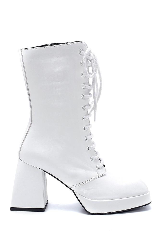 Beyaz Kadın Deri Bağcık Detaylı Topuklu Bot 5638234469