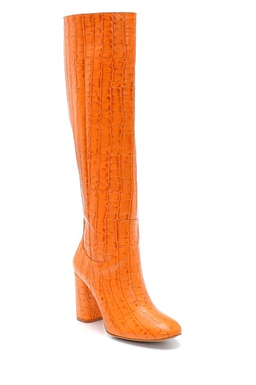 Turuncu Kadın Deri Kroko Desenli Topuklu Çizme 5638234552