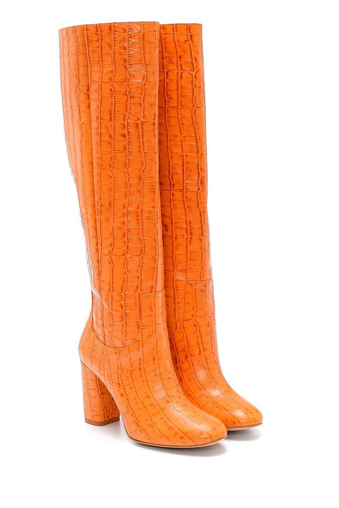 5638234552 Kadın Deri Kroko Desenli Topuklu Çizme